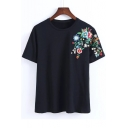 Embroidery Floral Shoulder Short Sleeve Round Neck Casual Tee