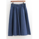 Summer's Basic Elastic Waist High Rise Plain Pleated Denim A-Line Midi Skirt