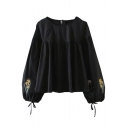 Fashion Embroidery Pattern in Lantern Long Sleeve Round Neck Tied Keyhole Back Casual Blouse