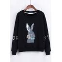Lovely Cartoon Rabbit Printed Long Sleeve Round Neck Pullover Sweatshirt