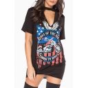 Keyhole Neck Short Sleeve Street Style Printed Cotton Mini T-Shirt Dress