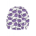 Purple Cat Letter Printed Round Neck Long Sleeve Pullover Casual Loose Sweatshirt