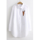 New Arrival Radish Embroidered Lapel Collar Long Sleeve Tunic Shirt