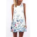 Lady's Round Neck Sleeveless Floral Printed Mini Swing Dress