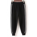 New Arrival Elastic Waist Striped Sides Mid Waist Knitted Pants