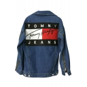 New Fashion Letter Printed Back Single Breasted Lapel Collar Long Sleeve Denim Jacket