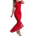 Glamorous Chic Sleeveless High Low Ruffle Hem Plain Asymmetric Dress