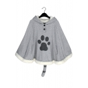 Lovely Cat Footprint Pattern Winter's Warm Hooded Cape Coat