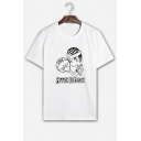 Fashion Cartoon Basketball Printed Short Sleeve Round Neck Casual Tee