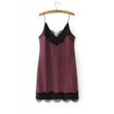 New Fashion Summer Sexy Lace Inserted Sequined Mini Slip Dress