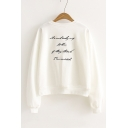Letter Printed Back Round Neck Long Sleeve Leisure Pullover Sweatshirt