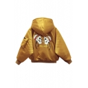 Women's Hooded Skull Printed with Rings Raglan Long Sleeve Zipper Placket Coat