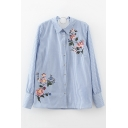 Women's Cutout V-Back with Metallic Ring Embroidery Floral Pattern Striped Button Down Shirt