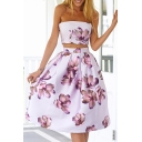 Glamorous Strapless Sleeveless Floral Printed Cutout Waist Zip-Back Midi Dress