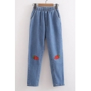Elastic Waist Summer's Cartoon Strawberry Embroidered Loose Jeans with Slanting Pockets