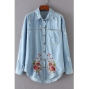 Fashion Embroidery Floral Pattern Ripped Single Breasted Lapel Tunic Denim Shirt with One Pocket