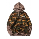 New Fashion Letter Printed Color Block Long Sleeve Camouflage Hoodie