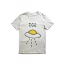 Lovely Cartoon Printed Short Sleeve Round Neck Casual Tee