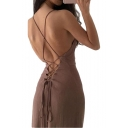New Arrival Sexy Spaghetti Straps Crisscross Open Back Plain Maxi Slip Dress