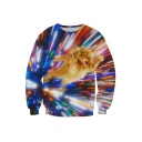 Digital Cat Printed Round Neck Long Sleeve Pullover Leisure Sweatshirt