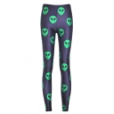 New Fashion Cartoon Alien Printed Skinny Basic Leggings