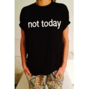 Street Style Fashion Letter Printed Round Neck Short Sleeve Boxy T-Shirt
