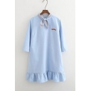 Bow Tie Collar Puff Sleeve New Fashion Mini Swing Dress