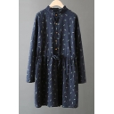 New Fresh Drawstring Waist Leaf Printed Long Sleeve Mini Dress with Buttons