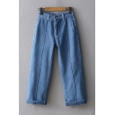 Simple Leisure Roll Up Cuffs Plain Straight Basic Jeans