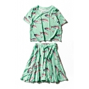 Leisure Fish Printed Short Sleeve Round Neck with Elastic Waist Mini A-Line Skirt