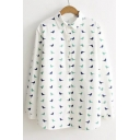 Lapel Collar Long Sleeve Birds Pattern Single Breasted Leisure Shirt
