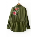 Embroidery Floral Peacock Appliqued Zipper Placket Drawstring Hem Tunic Coat