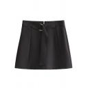 Summer New Fashion Zip Fly Metal Ring Waist Plain Bodycon Mini Skirt