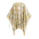 Fresh Floral Printed Tassel Pom-Pom Cuffs Cape Kimonos