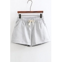 Basic Plain Elastic Drawstring Waist Linen Casual Summer's Shorts