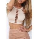 New Fashion Round Neck Sleeveless Hollow Out Zip Back Sexy Cropped Tank Top