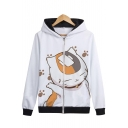 Comic Cartoon Cat Printed Long Sleeve Casual Leisure Zip Up Hoodie