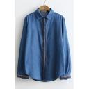 Contrast Single Breasted Long Sleeve Lapel Vintage Tunic Denim Shirt