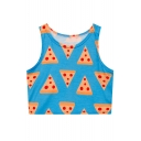 Fashion Pizza Printed Round Neck Sleeveless Fitted Cropped Tank Top
