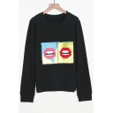Fashion Beaded Lip Printed Round Neck Long Sleeve Pullover Sweatshirt