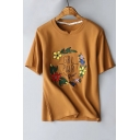 Sweet Floral Embroidered Round Neck Short Sleeve Basic Leisure Tee