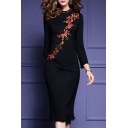 Elegant Embroidery Floral Pattern Long Sleeve Split Back Hem Midi Pencil Dress