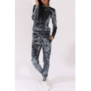 Fashion Plain Round Neck Long Sleeve Pullover Sweatshirt with A Pencil Pants Sport Co-ords