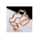 New Fashion Layered Wave Design Diamond Studded Embellished Ring
