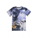 Funny Cartoon Cat Printed Round Neck Short Sleeve Summer's Leisure Tee