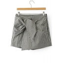 Fashion Plaid Color Block Zip Side Skort with Bow