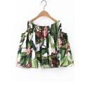 Fashion Cold Shoulder Floral Printed Boat Neck Cropped Blouse