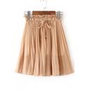 Elastic Drawstring Waist Sash Chiffon Mini Plain Skirt