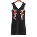 V Neck V Back Sleeveless Floral Embroidered Mini Bodycon Dress