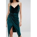 Spaghetti Straps Plain Slit Front Sleeveless Midi Velvet Wrap Slip Dress